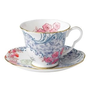 Butterfly Bloom Teacup and Saucer in Blue and Pink