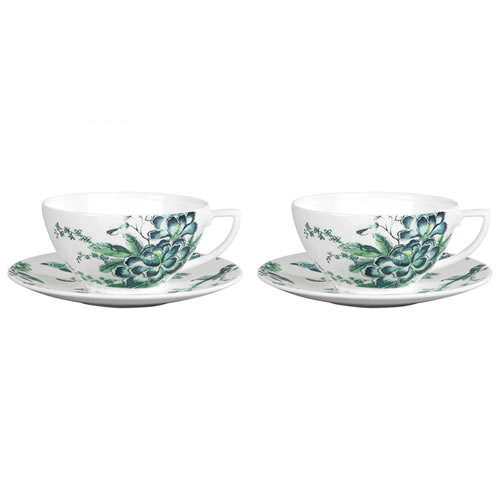 Jasper Conran At Wedgwood Chinoiserie White Set of 2 Teacup & Saucer