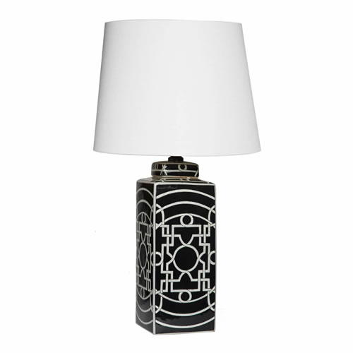 Geometric Black Lamp with White Shade