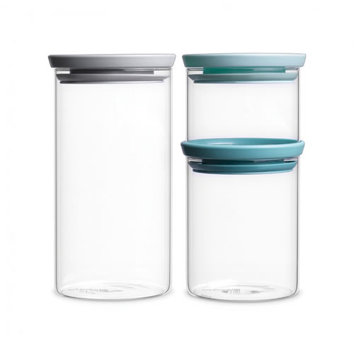 Stackable Glass Jar 3 Piece Set with Soft Tone Lids