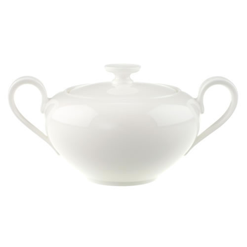 Anmut White Covered Sugar and Jam Pot
