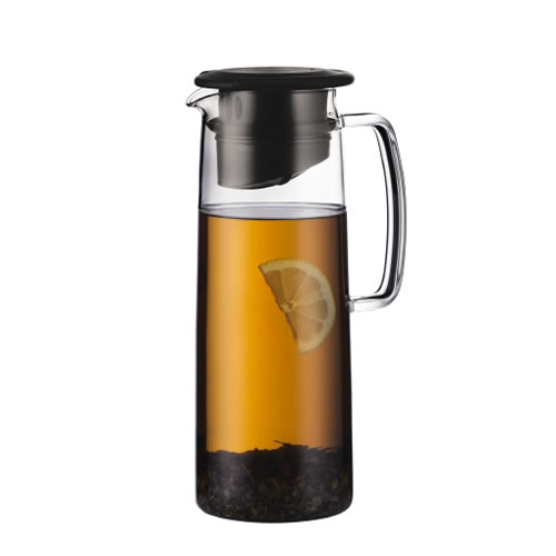 BIASCA Glass Ice Tea Jug 1.2L with Black Lid
