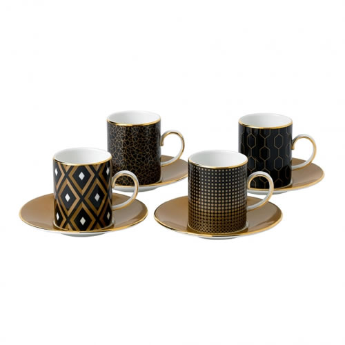Wedgwood Arris Espresso Cups & Saucers Set of 4