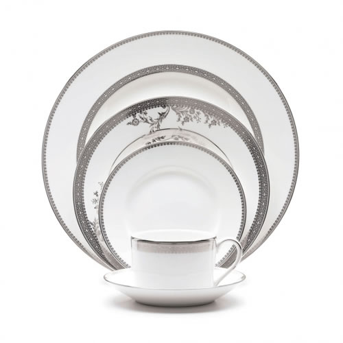 Lace Platinum Dinnerware 5 Piece Place Setting