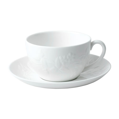 Wedgwood Wild Strawberry White Teacup & Saucer