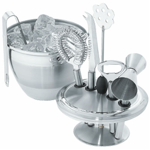Art Deco Ice Bucket & Bar Tool Set