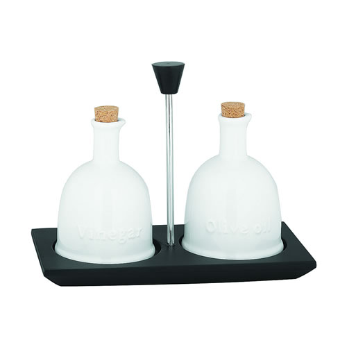 Ceramic Oil and Vinegar Set with Stand