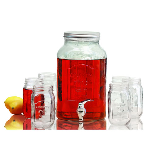 Glass Beverage Dispenser with 6 x 470ml Mason Jars