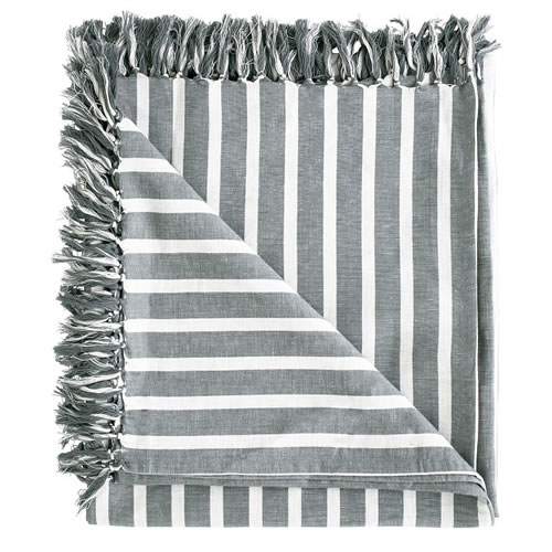Coitier Essential Throw Linen Cotton Blend with Tassels 180x150cm Slate White Stripe