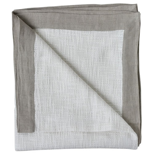 Landscap Throw Slub Weave with Linen Flange 180x150cm White Natural