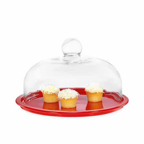 Cake Platter with Lid in Red