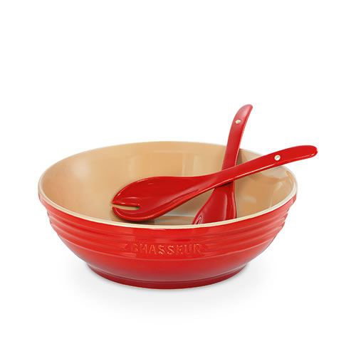 Red Round Bowl with Salad Servers