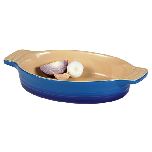 French Blue Small Oval Baking Dish 24cm