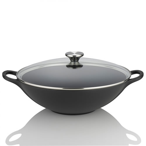 Satin Black Cast Iron Wok 32cm with Glass Lid