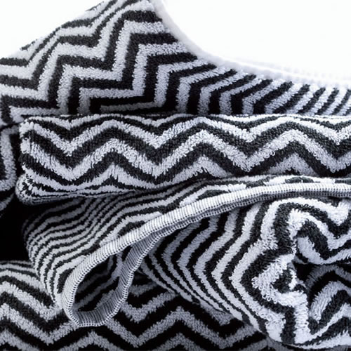Herringbone Black & White Face Towel