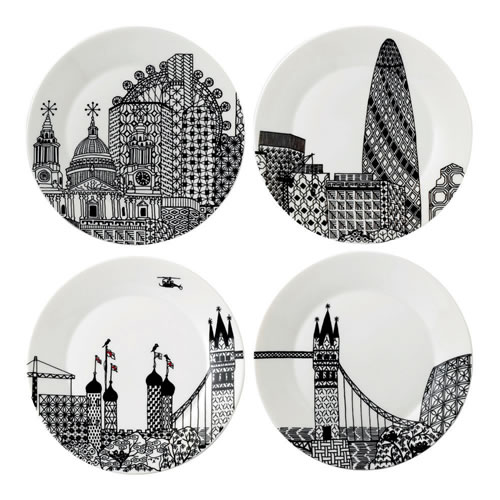 Charlene Mullen London Calling Set of 4 Plates 22cm