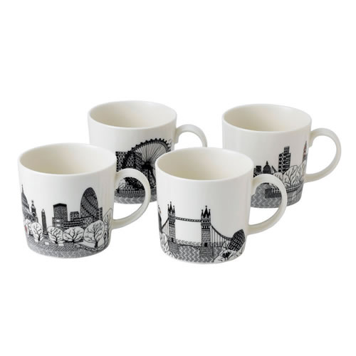 Charlene Mullen London Calling Set of 4 Mugs