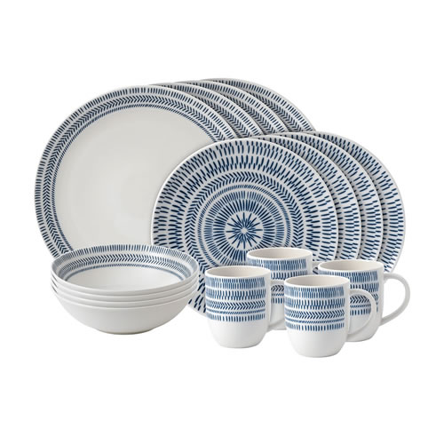 ED Ellen DeGeneres Crafted by Royal Doulton 16 Piece Set Cobalt Blue Chevron