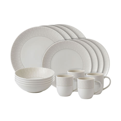 ED Ellen DeGeneres Crafted by Royal Doulton 16 piece set Taupe Stripe