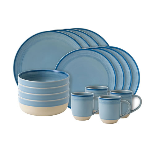 ED Ellen DeGeneres crafted by Royal Doulton collection - 16 Piece Set Brushed Glaze Polar Blue
