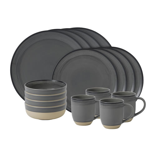 ED Ellen DeGeneres crafted by Royal Doulton collection - 16 Piece Set Brushed Glaze Charcoal Grey