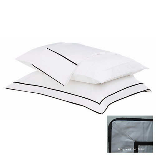 Grosgrain European Pillowcase White with Black Trim