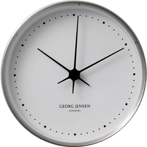 KOPPEL 10cm Wall Clock in Stainless Steel with White Dial