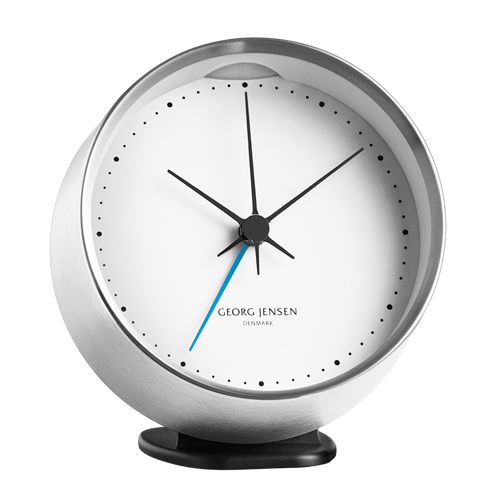 Henning Koppel Alarm Clock in Steel and White 10 cm