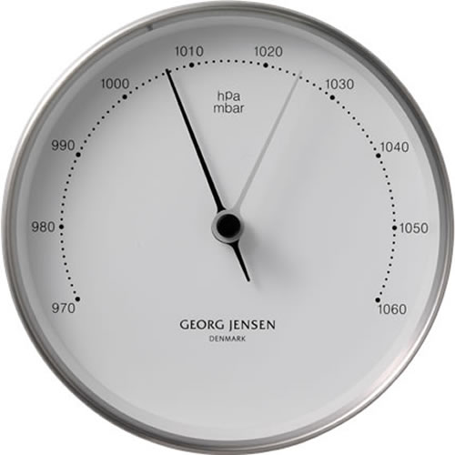 Koppel 10cm Barometer in Stainless Steel with White Dial