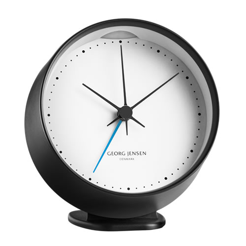 HK CLOCK with Alarm Black with White 10 cm