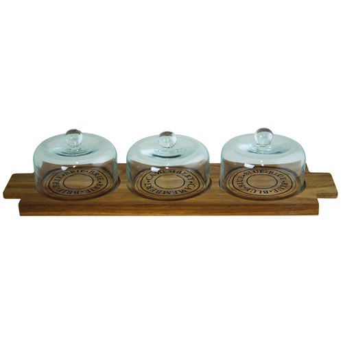 Fromage Wooden Board with 3 Glass Domes
