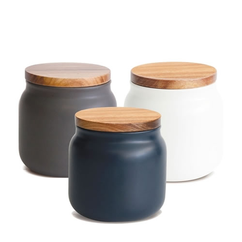 HUDSON Canisters Small Blue, Charcoal, White