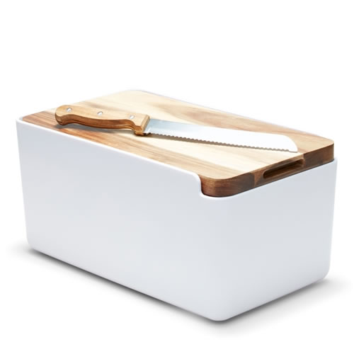 HUDSON Bread Bin with Wooden Cutting Board White