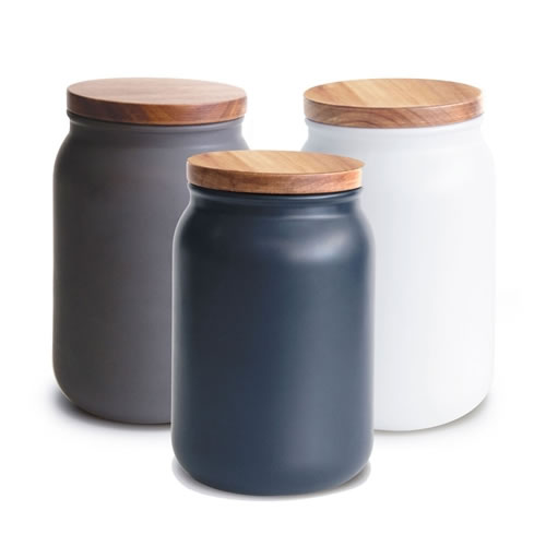 HUDSON Canisters Large Blue, Charcoal, White