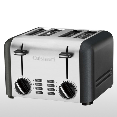 4 Slice Toaster Brushed Stainless Steel and Titanium