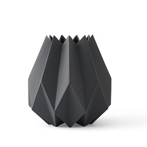 Folded Vase Tall in Carbon