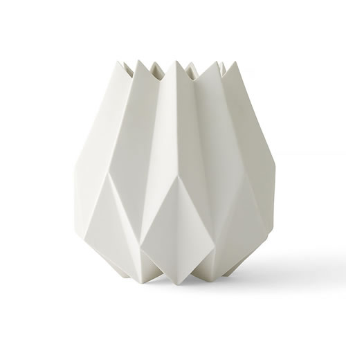 Folded Vase Tall in White