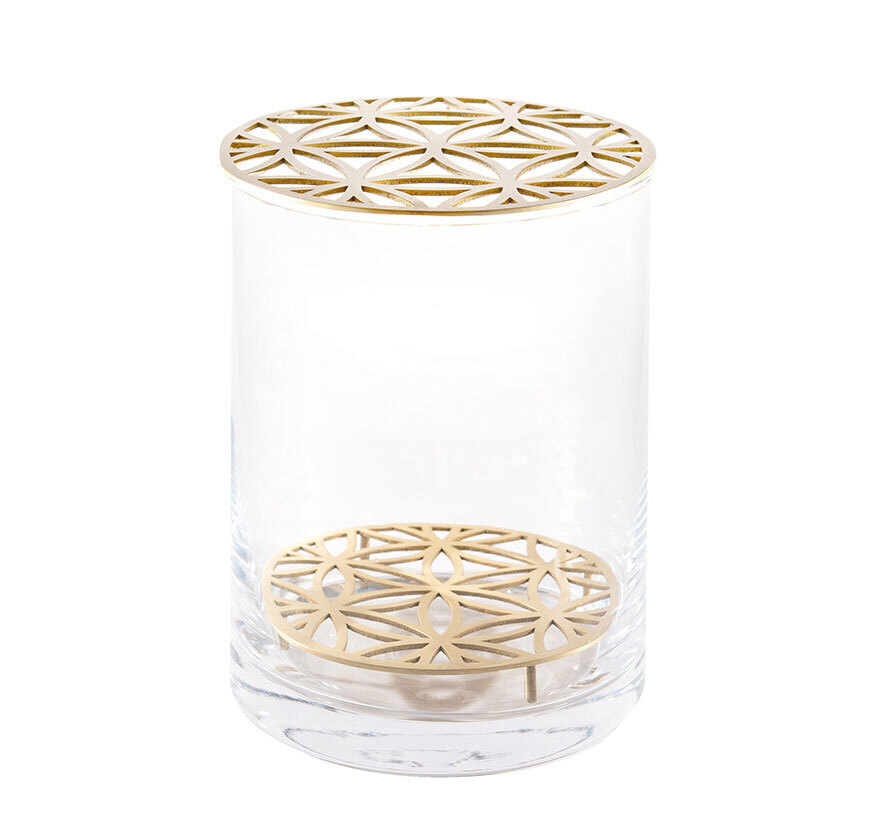 Bloom Glass Vase with Matt Brass Insert – Medium