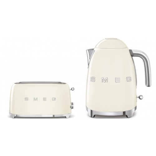 Smeg 50's Style Kettle & 4 Slice Toaster Pack Cream
