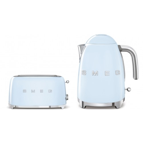Smeg 50's Style Kettle & 4 Slice Toaster Pack Pale Blue