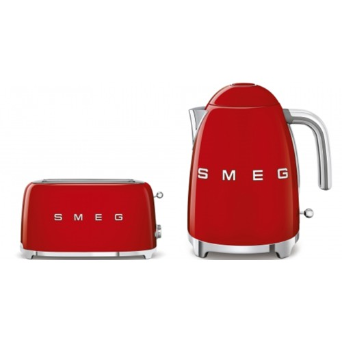 Smeg 50's Style Kettle & 4 Slice Toaster Pack Red