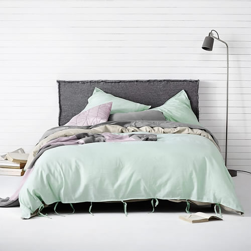 Maison King Quilt Cover in Pastel Mint