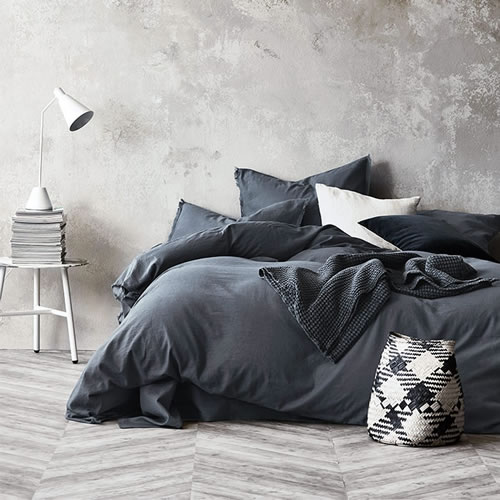 Maison Fringe King Quilt Cover in Greystone