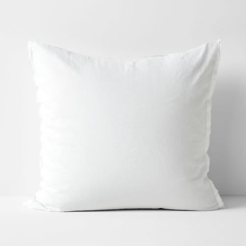 Maison Fringe Single European  Pillowcase in White