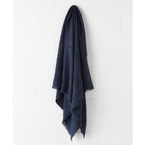 Vintage Indigo Linen Throw