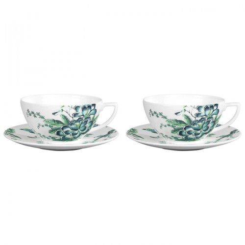 Jasper Conran Chinoiserie White Set of 2 Teacup & Saucer