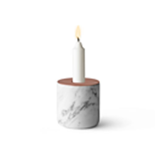 Large CHUNK of Marble with Copper Candle Holder