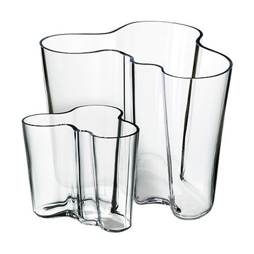 Alvar Aalto Collection Vase Set 160 + 95 mm in Clear