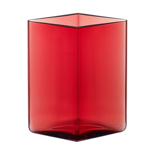 Ruutu Vase 115x140mm Cranberry