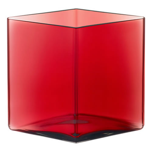 Ruutu Vase 205x180mm Cranberry